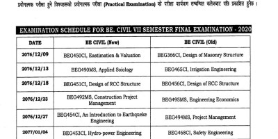 Examination schedule for BE. Civil_VII_semester final examination-2020.