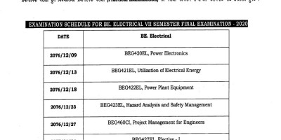 Examination schedule for BE. Electrical_VII_semester final examination-2020.