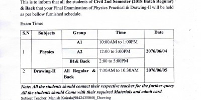 PHYSICS AND DRAWING PRACTICAL EXAM OF CIVIL 2ND SEMESTER (2018 BATCH REGULAR) AND BACK EXAM ROUTINE